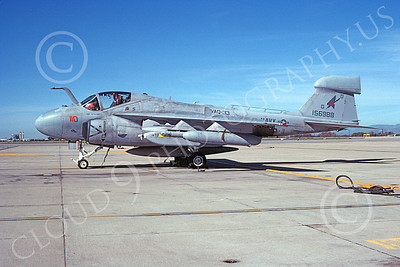EA-6AUSN 00014 A static Grumman EA-6A Prowler USN 156988 VAQ-33 FIREBIRDS NAS Pt Mugu 2-1988 military airplane picture by Harold Crowley