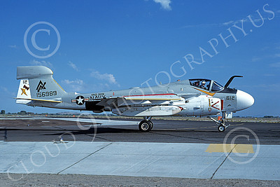 EA-6AUSN 00030 A taxing Grumman EA-6A Prowler USN 156989 VAQ-309 AXEMEN NAS Fallon 9-1981 military airplane picture by Michael Grove, Sr