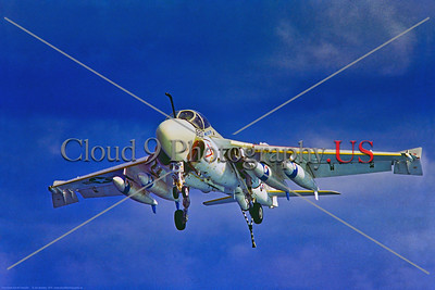 KA-6DUSN-Generic 002 A Grumman KA-6D Intruder, aerial tanker, on final approach to land with tailhook down, 1974, by Jim Bradley, Stephen W  D  Wolf coll      DDD_3853     Dt