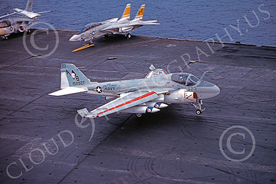 KA-6DUSN 00017 A Gruman KA-6D Intruder USN 152927 VA-34 BLUE BLASTERS taxis on the USS John F Kennedy 11-1975 military airplane picture by Tim Barker