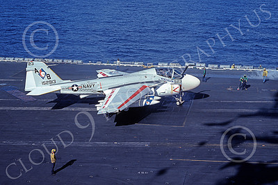 KA-6DUSN 00025 A taxing Gruman KA-6D Intruder USN 152913 VA-34 BLUE BLASTERS USS Dwight D Eisenhower 12-1977 military airplane picture by Ken Bastlett