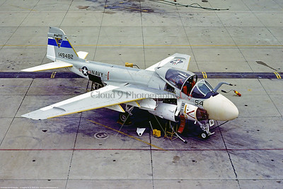 KA-6D-USN-PMTC 001 A static Grumman KA-6D Intruder, USN carrier based aerial tanker, 149842, PMTC Pacific Missile Test Center, 6-1975 Pt Mugu, military airplane picture by Stephen W  D  Wolf   DDD_8092  Dt