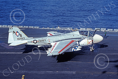 KA-6DUSN 00008 A taxing Gruman KA-6D Intruder USN 152913 VA-34 BLUE BLASTERS USS Dwight D Eisenhower 12-1977 military airplane picture by Ken Bastlett