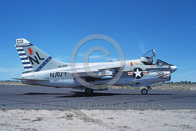 A-7USN-VA-22 0001 A taxing Vought A-7E Corsair II USN attack jet 159655 VA-22 FIGHTING REDCOCKS commanding officer's airplane USS Kitty Hawk NL code NAS Fallon 61980 military airplane picture by Michael Grove, Sr