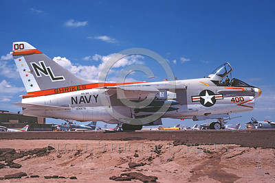 A-7USN-VA-94 0006 A taxing Vought A-7E Corsair II USN attack jet 159976 VA-94 SHRIKES commanding officer's airplane NL code NAS Fallon 8-1978 military airplane picture by Michael Grove, Sr