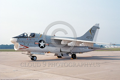 A-7USN-NAEC 0001 A static Vought A-7B Corsair II USN 154373 NAEC 8-1980 military airplane picture by Ray Leader  DONEwt