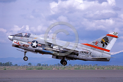A-7USN-VA-87 0004 A landing Vought A-7E Corsair II USN attack jet 157586 VA-87 GOLDEN WARRIORS USS Independence AE code NAS Fallon 5-1980 military airplane picture by Michael Grove, Sr