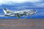 A-7USN-VA-113 0004 A landing Vought A-7E Corsair II USN attack jet 158661 VA-113 STINGERS USS Ranger with bombs NAS Fallon 5-1980 military airplane picture by Michael Grove, Sr