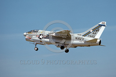 A-7USN-VA-66 0002 A landing Vought A-7E Corsair II USN attack jet 157443 VA-66 WALDOMEN commanding officer's airplane USS Independence AG code 8-1975 military airplane picture by Michael Grove, Sr