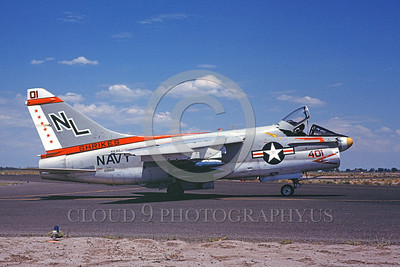 A-7USN-VA-94 0001 A taxing Vought A-7E Corsair II USN attack jet 159981 VA-94 SHRIKES NL code NAS Fallon 8-1978 military airplane picture by Michael Grove, Sr