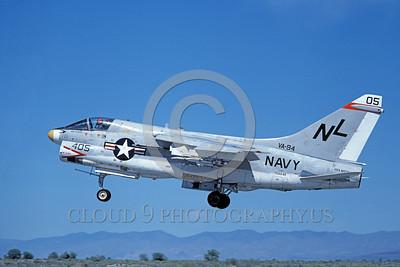 A-7USN-VA-94 0014 A landing Vought A-7E Corsair II USN 156848 VA-94 SHRIKES USS Kitty Hawk NAS Fallon 6-1980 military airplane picture by Michael Grove, Sr