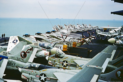A-7USN-VA-12 0003 Vought A-7 Corsair IIs, USN attack jet, VA-12 FLYING UBANGIS, on USS Independence, 1976, military airplane picture by Stephen W  D  Wolf     CCC_0204     Dt