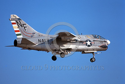 A-7USN-VA-93 0002 A landing Vought A-7A Corsair II USN 152673 VA-93 BLUE BLAZERS commanding officer's airplane USS Midway sharkmouth 1-1976 military airplane picture by Michael Grove, Sr
