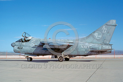 A-7USN-VA-12 0001 A taxing Vought A-7E Corsair II USN attack jet 157568 VA-12 KISS OF DEATH USS Dwight E Eisenhower AG code 4-1984 military airplane picture by Michael Grove, Sr