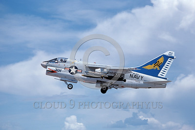 A-7USN-VA-303 0012 A flying Vought A-7B Corsair II USN attack jet 154438 VA-303 GOLDEN HAWKS 5-1989 military airplane picture by Michael Grove, Sr