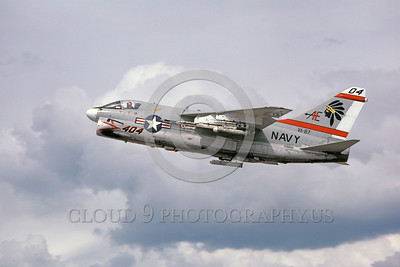A-7USN-VA-87 0002 A flying Vought A-7E Corsair II USN attack jet 159640 V-87 GOLDEN WARRIORS AE code 5-1980 military airplane picture by Michael Grove, Sr