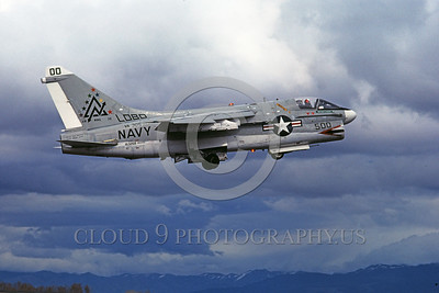 A-7USN-VA-305 0002 A flying Vought A-7A Corsair II USN attack jet 153268 VA-305 LOBOS commanding officer's airplane NAS Fallon 3-1978 military airplane picture by Michael Grove, Sr