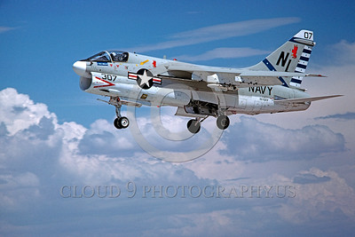A-7USN-VA-22 0002 A landing Vought A-7E Corsair II USN attack jet VA-22 Fighting Red Cocks NL code NAS Fallon 7-1978 military airplane picture by Peter B Lewis