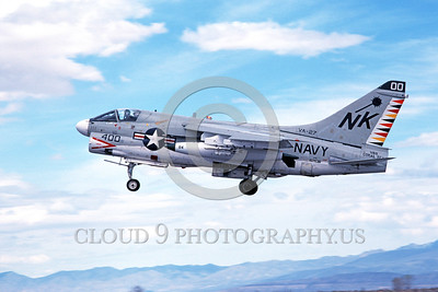 A-7USN-VA-27 0002 A landing Vought A-7E Corsair II USN attack jet 157538 VA-27 ROYAL MACES commanding officer's airplane USS Coral Sea NAS Fallon 5-1981 military airplane picture by Michael Grove, Sr