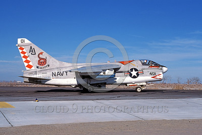 A-7USN-VA-86 0001 A taxing Vought A-7E Corsair II USN attack jet 159306 VA-86 SIDEWINDERS USS Nimitz AJ code NAS Fallon 1-1981 military airplane picture by Michael Grove, Sr