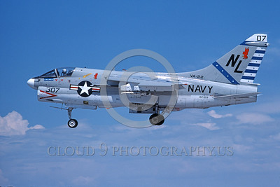A-7USN-VA-22 0014 A landing Vought A-7E Corsair II USN attack jet 157577 VA-22 FIGHTING REDCOCKS USS Kitty Hawk NL code 8-1976 military airplane picture by Michael Grove, Sr