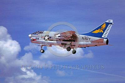 A-7USN-VA-303 0004 A landing Vought A-7B Corsair II USN attack jet 154529 VA-303 GOLDEN HAWKS 5-1980 military airplane picture by Peter B Lewis
