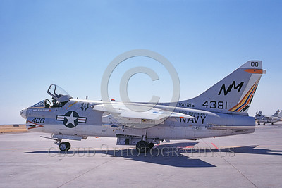 A-7USNVA-215 0001 A taxing Vought A-7C Corsair II USN 154381 VA-215 BARN OWLS commanding officer's airplane USS Oriskany NAS Lemoore 9-1974 military airplane picture by Michael Grove, Sr