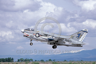 A-7USN-Generic 0002 A landing Vought A-7E Corsair II USN attack jet 160860 AE code NAS Fallon 5-1980 military airplane picture by Michael Grove, Sr