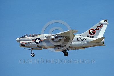 A-7USN-VA-12 0006 A landing Vought A-7E Corsair II USN attack jet 157468 VA-12 FLYING UBANGIS USS Independence AG code 8-1976 military airplane picture by Michael Grove, Sr