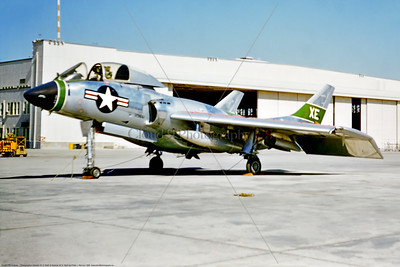 F7U-USN-VX-5 001 A static Vought F7U Cutlass USN early carrier based jet fighter, VX-5 THE VAMPIRES, XE tail code, military airplane picture by Stephen W  D  Wolf     853_3850     Dt