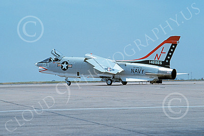RF-8USN 00035 A taxing Vought RF-8 Crusader USN 146865 VFP-63 EYES OF THE FLEET USS Coral Sea BICENTENNIAL NL code NAS Miramar 6-1976 military airplane picture by Michael Grove, Sr
