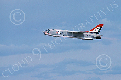 RF-8USN 00010 A flying Vought RF-8 Crusader USN 146835 VFP-63 EYES OF THE FLEET PP code BICENTENNIAL 6-1976 military airplane picture by Michael Grove, Sr