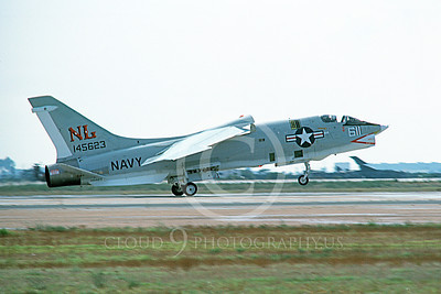 RF-8USN 00027 A landing Vought RF-8 Crusader USN 145623 NL code NAS Miramar 10-1974 military airplane picture by Michael Grove, Sr