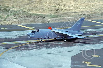 RF-8USN 00023 A taxing Vought RF-8 Crusader USN AF code McClelland AFB by Michael Grove, Sr