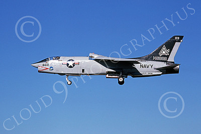 RF-8USN 00030 A landing Vought RF-8 Crusader USN 146882 VFP-306 PEEPING TOMS ND code 11-1979 military airplane picture by Michael Grove, Sr