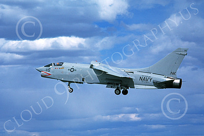 RF-8USN 00012  A landing Vought RF-8 Crusader USN VFP-63 EYES OF THE FLEET USS Coral Sea 5-1981 military airplane picture by Michael Grove, Sr