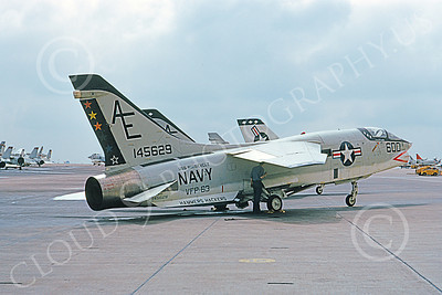 RF-8USN 00033 A static Vought RF-8 Crusader USN 145629 VFP-63 EYES OF THE FLEET HAMMERS HACKERS USS Roosevelt NAS Miramar 3-1974 airplane picture by Michael Grove, Sr