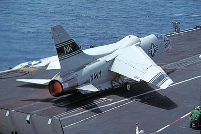 RF-8USN 00025 A Vought RF-8 Crusader USN USS Coral Sea NK code in afterburner by Kevin Davidtz