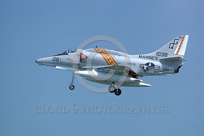 A-4USMC-VMA-131 0002 A landing Douglas A-4 Skyhawk USMC 151038 VMA-131 DIAMONDBACKS 9-1975 military airplane picture by Michael Grove, Sr