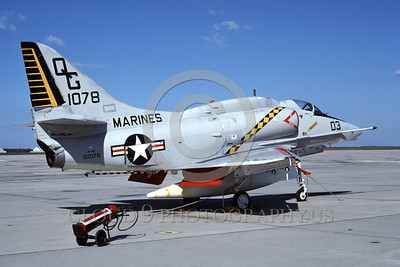 A-4USMC-VMA-131 0007 A static Douglas A-4E Skyhawk USMC 151078 VMA-131 DIAMONDBACKS 10-1981 military airplane picture by Michael Grove, Sr