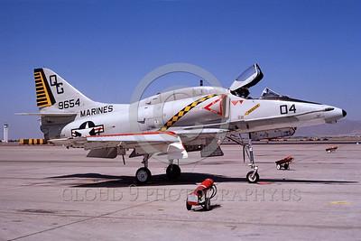 A-4USMC-VMA-131 0001 A static USMC Douglas A-4E Skyhawk attack jet 149654 VMA-131 DIAMONDBACKS Luke AFB 7-1988 airplane military airplane picture by Michael Grove, Sr