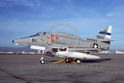 A-4USMC-PMTC 0001 A static Douglas A-4E Skyhawk USMC 149654 PMTC PACIFIC MISSILE TEST CENTER at NAS Moffett 6-1977 military airplane picture by Michael Grove, Sr
