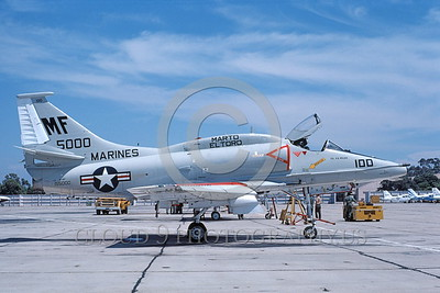 A-4USMC-Generic 0017 A static Douglas A-4 Skyhawk USMC 155000 NAS North Island 7-1976 military airplane picture by Michael Grove, Sr