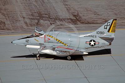 A-4USMC-Generic 0001 A taxing Douglas A-4E Skyhawk USMC 151090 MCAS Yuma 3-1982 military airplane picture by Peter J Mancus