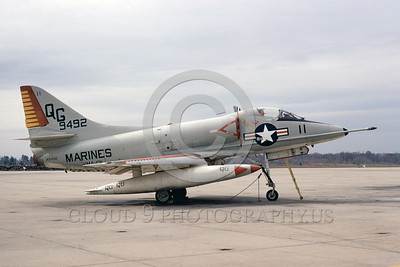 A-4USMC-VMA-131 0009 A static Douglas A-4C Skyhawk USMC 149492 VMA-131 DIAMONDBACKS 3-1974 military airplane picture by Michael Grove, Sr