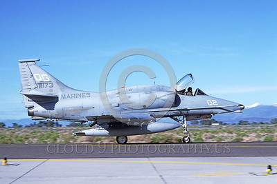 A-4USMC-Generic 0005 A static Douglas A-4M Skyhawk USMC 158173 NAS Fallon 6-1993 military airplane picture by Michael Grove, Sr