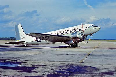 C-117USMC 007 A static Douglas C-117D Super Dakota, USMC 17140, tansport airplane, Bicentennial markings, 7-1976 MCAS Beaufort, military airplane picture by Stephen W  D  Wolf   DDD_6000   Dt