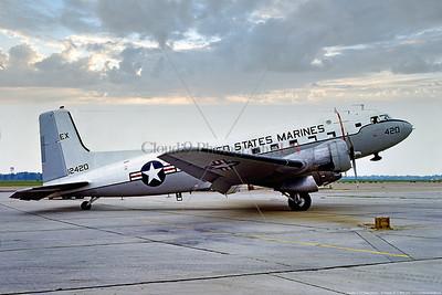 C-117USMC 006 A static Douglas C-117D Super Dakota, USMC 12420, tansport airplane, H&MS-31 AGGRESSORS, 7-1976 MCAS Beaufort, military airplane picture by Stephen W  D  Wolf   CCC_6404  Dt