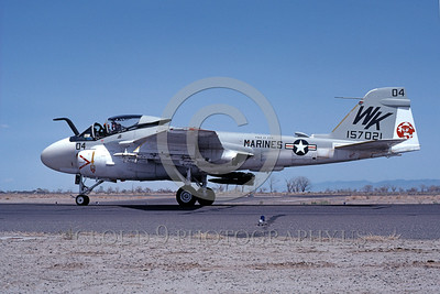 A-6USMC-VMA(AW)-224 00009 A taxing Grumman A-6 Intruder USMC attack jet 157021 VMA(AW)-224 BENGALS NAS Fallon 4-1980 military airplane picture by Michael Grove, Sr