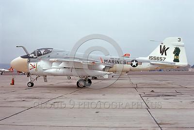 A-6USMC-VMA(AW)-121 00029 A static Grumman A-6 Intruder USMC attack jet 155657 VMA(AW)-121 GREEN KNIGHTS VK code NAS North Island 9-1975 military airplane picture by Michael Grove, Sr